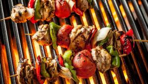 red gold grilled chicken skewers